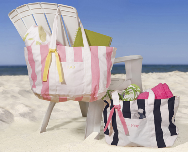 Personalized Candy Striped Beach Tote Bag FREE SHIPPING