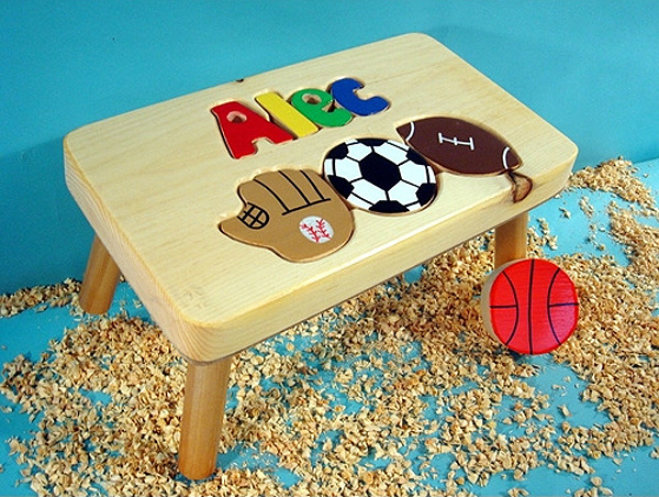 Excellent Classic Natural Wooden Sports Name Puzzle Step Stool Pdpeps Interior Chair Design Pdpepsorg