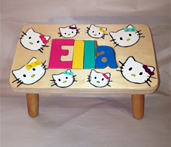 Fantastic Classic Kitty Kat Name Puzzle Stool Onthecornerstone Fun Painted Chair Ideas Images Onthecornerstoneorg